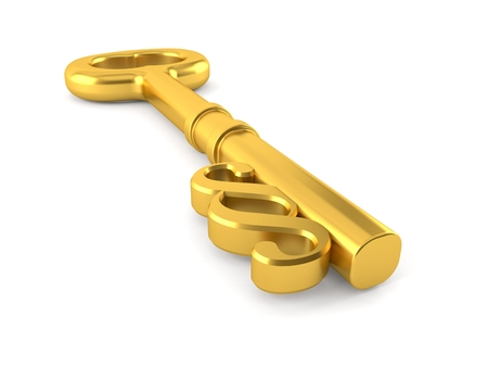 Paragraph symbol with golden key isolated on white background. 3d illustration Stock Photo