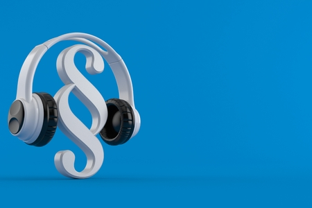 Paragraph symbol with headphones isolated on blue background. 3d illustration