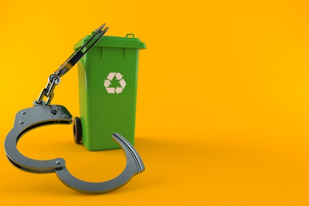 Dustbin with handcuffs isolated on orange background. 3d illustration