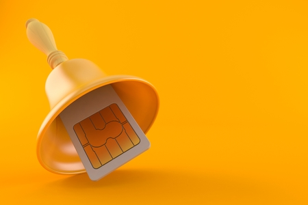 SIM card with hand bell isolated on orange background. 3d illustration