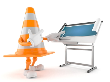 Traffic cone character with blueprint isolated on white background. 3d illustration