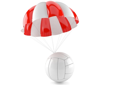 Volleyball ball with parachute isolated on white background. 3d illustration