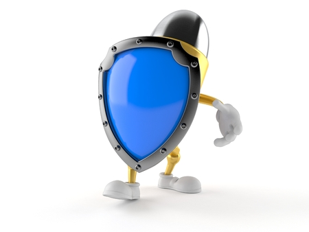 Bullet character with protective shield isolated on white background. 3d illustration