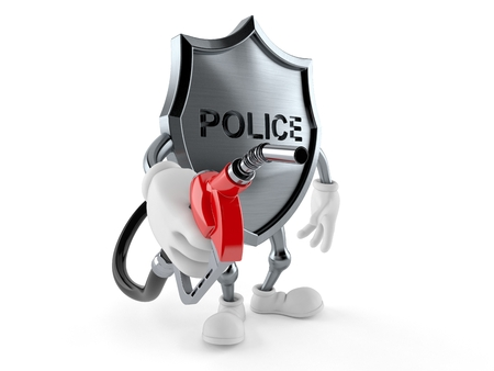 Police badge character with gasoline nozzle isolated on white background. 3d illustration