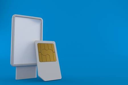 SIM card with blank billboard isolated on blue background. 3d illustration Stock Photo