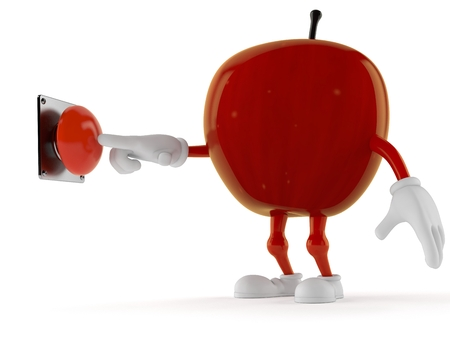 Apple character pushing button isolated on white background. 3d illustration Stock Photo