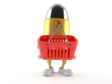 Bullet character holding shopping basket isolated on white background. 3d illustration