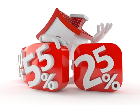 House character behind percentage signs isolated on white background. 3d illustration