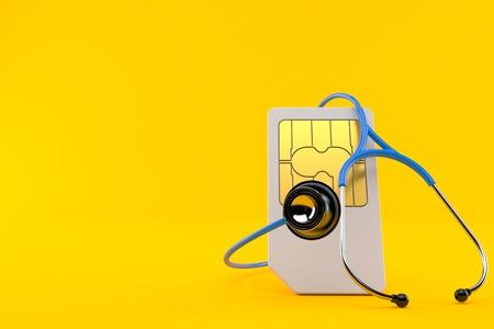 SIM card with stethoscope isolated on orange background. 3d illustration Stock Photo