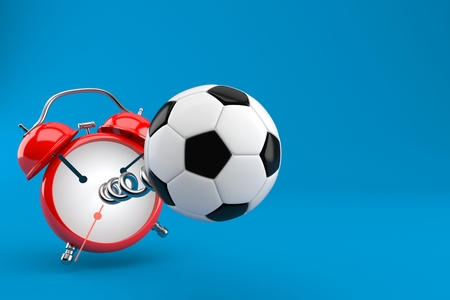 Soccer ball with alarm clock isolated on blue background. 3d illustration Фото со стока
