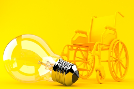 Wheelchair background with light bulb in orange color. 3d illustration
