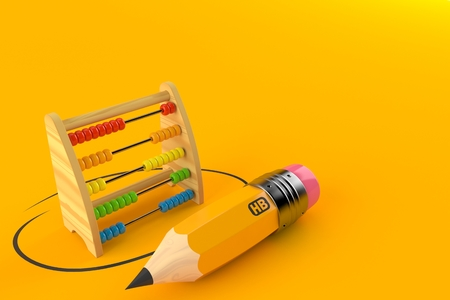Wooden abacus with pencil isolated on orange background. 3d illustration