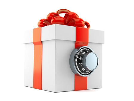 Gift box with combination lock isolated on white background. 3d illustration