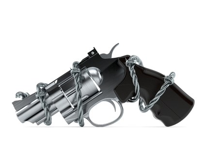 Gun with barbed wire isolated on white background. 3d illustration