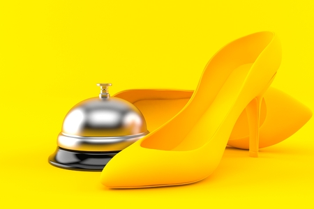 Femininity background with hotel bell in orange color. 3d illustration Stock Photo