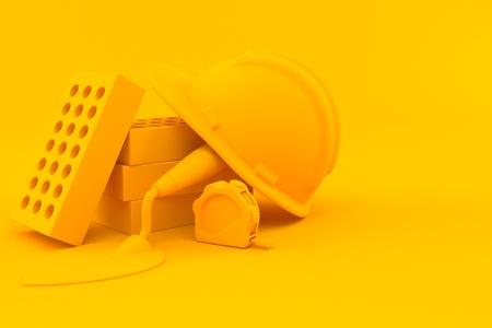 Masonry background. 3d illustration in orange color. 3d illustration