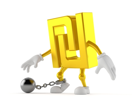 Shekel character with prison ball isolated on white background. 3d illustration Stock Photo