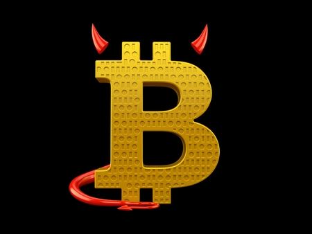 Bitcoin symbol with devil horns and tail isolated on black background. 3d illustration Standard-Bild
