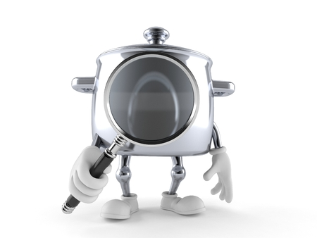 Kitchen pot character looking through magnifying glass isolated on white background. 3d illustration