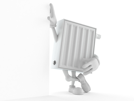 Radiator character lean on wall isolated on white background. 3d illustration