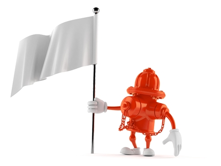 Hydrant character with blank flag isolated on white background. 3d illustration Stock Photo