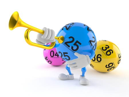 Lotto ball character playing the trumpet isolated on white background. 3d illustration Stock Photo