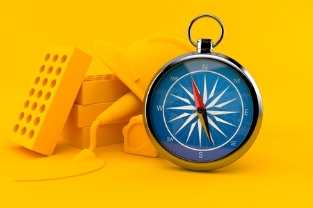 Masonry background with compass in orange color. 3d illustration