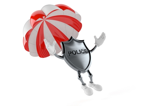 Police badge character with parachute isolated on white background. 3d illustration