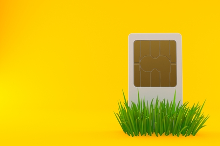 SIM card on grass isolated on orange background. 3d illustration Stock Photo