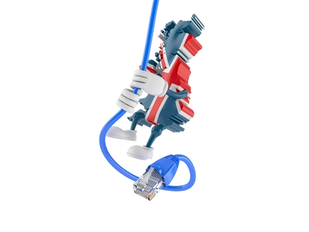 UK character hanging on network cable isolated on white background. 3d illustration Stockfoto
