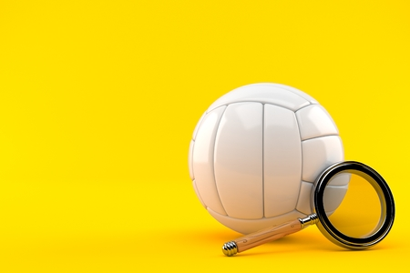 Volleyball ball with magnifying glass isolated on orange background. 3d illustration