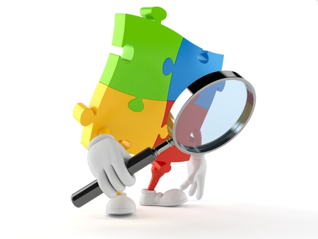 Jigsaw puzzle character looking through magnifying glass isolated on white background. 3d illustration