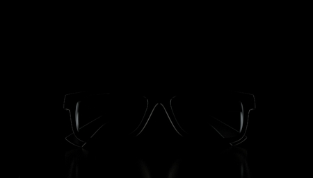 Glasses on black background. 3d illustration
