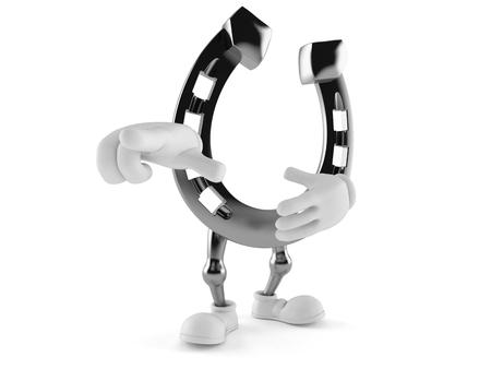 Horseshoe character pointing finger isolated on white background. 3d illustration