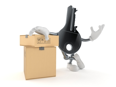 Door key character with stack of boxes isolated on white background. 3d illustration Imagens