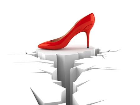 High heel with cracked hole isolated on white background. 3d illustration