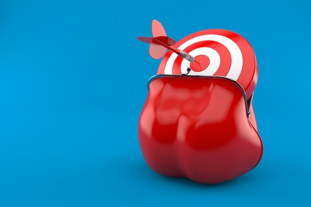Purse with bulls eye isolated on blue background. 3d illustration