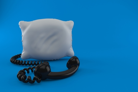 Pillow with telephone handset isolated on blue background. 3d illustration