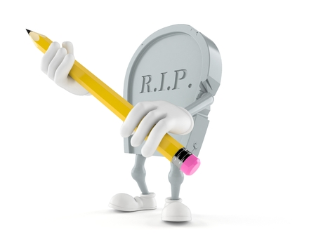 Grave character holding big pencil isolated on white background. 3d illustration Stock Photo
