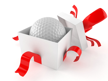 Gift with golf ball isolated on white background Banque d'images