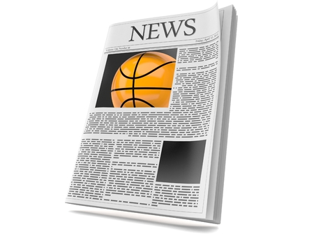 Basketball ball inside newspaper isolated on white background. 3d illustration