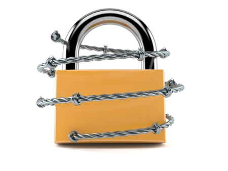 Padlock with barbed wire isolated on white background. 3d illustration