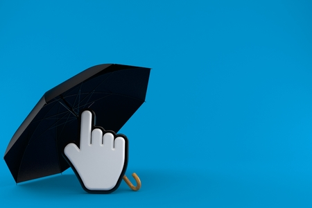 Umbrella with cursor isolated on blue background. 3d illustration