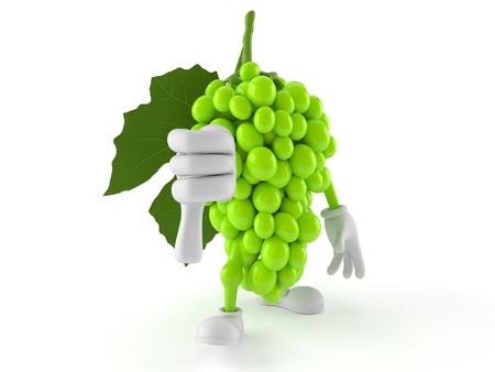 Grapes character with thumbs down gesture isolated on white background. 3d illustration