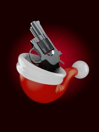 Gun inside santas hat on black background. 3d illustration