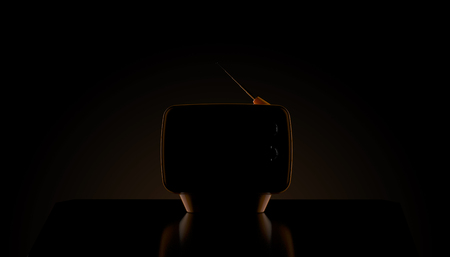 Old TV on black background. 3d illustration