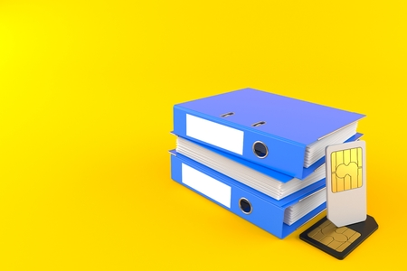 SIM cards with ring binders isolated on orange background. 3d illustration Stock Photo