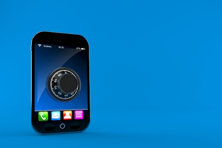 Smartphone with combination lock isolated on blue background. 3d illustration