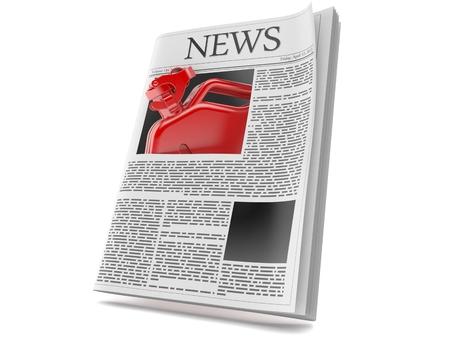 Gasoline canister inside newspaper isolated on white background. 3d illustration Reklamní fotografie - 108610349