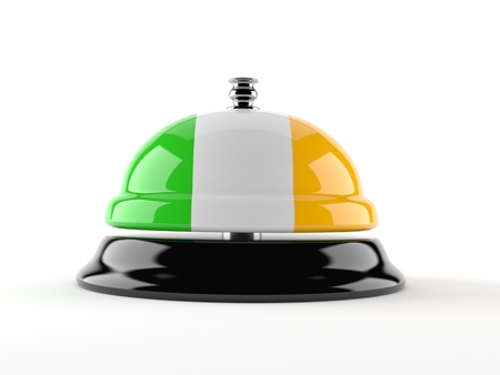 Hotel bell with irish flag isolated on white background. 3d illustration